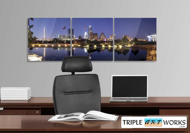 Austin Skyline 3 Triptych photograph on metal print