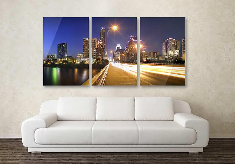Austin Texas Skyline Triptych photograph on metal print