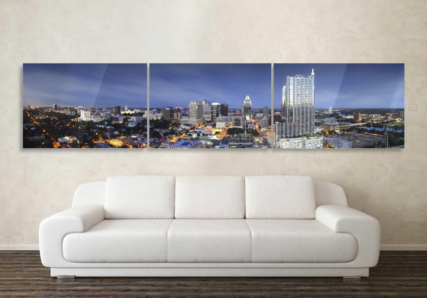 Austin Texas Wide Skyline Triptych photograph on metal print