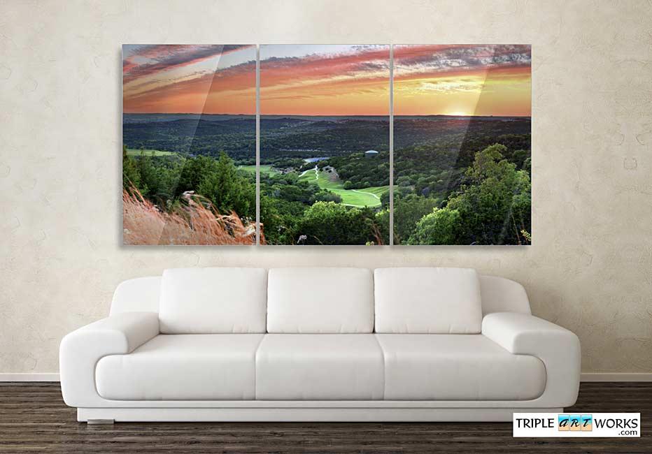 Austin TX Sunset Triptych photograph on metal print