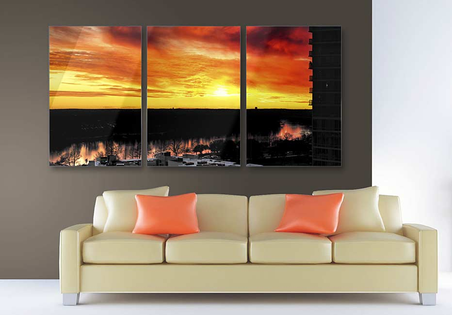 Austin Sunset Triptych photograph on metal print